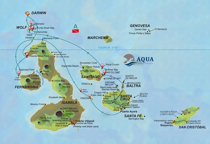 Galapagos_Aqua_Routenplan